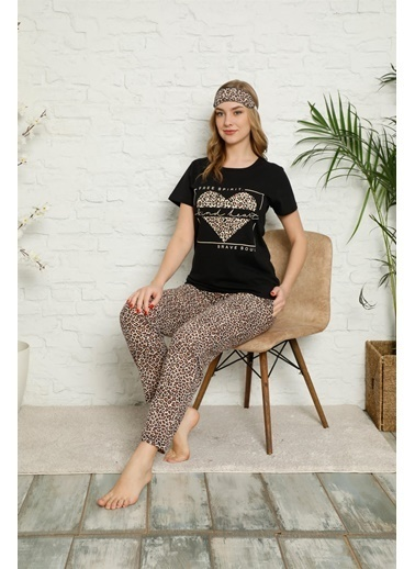 Akbeniz Kadın %100 Pamuk Penye Kısa Kol Pijama Takım 3336 Siyah